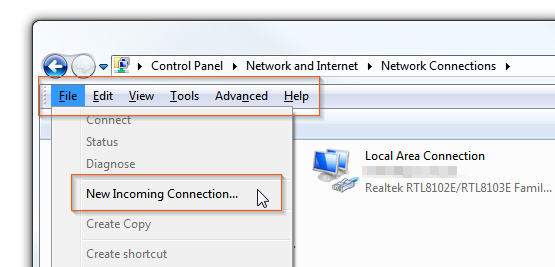Windows 7 - Hidden menu VPN - New incoming connection