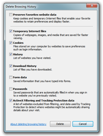 IE9 - Delete Browsing History