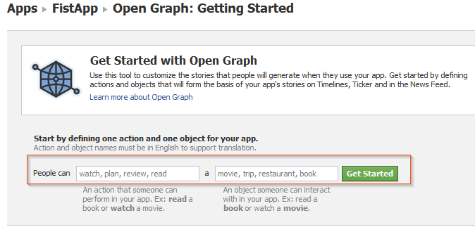 Facebook Timeline - Open Graph get started