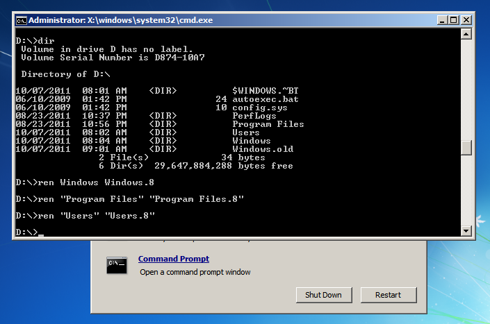 Uninstall Windows 8 - Windows 7 Command Prompt - REN Command