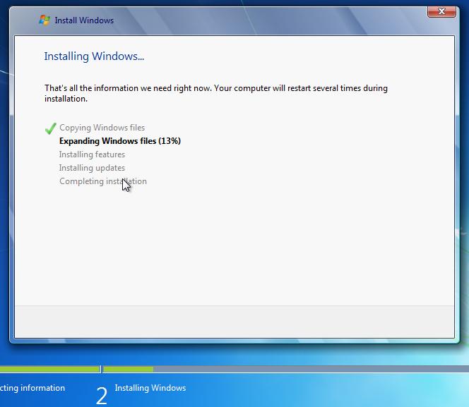 Windows 7 installing