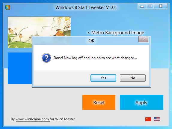 how to change background in windows 8 start menu