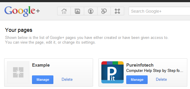 how to make delete a google plus page