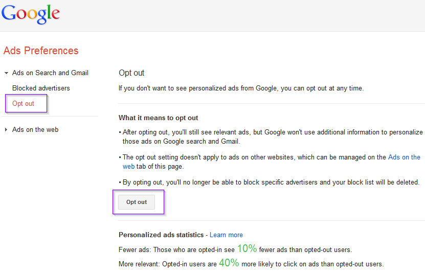 Opt out - Google Ads