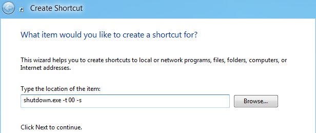 Shutdown shortcut path