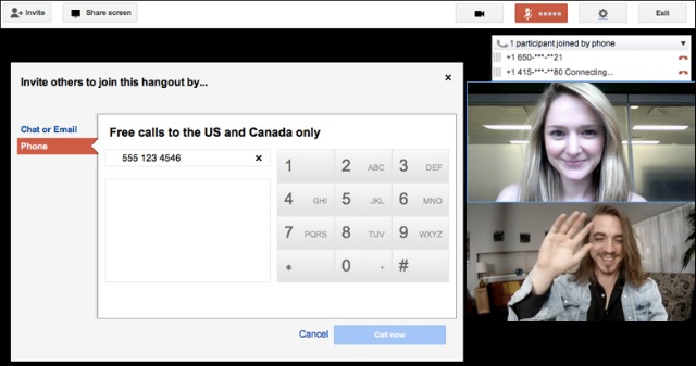 Google+ Hangouts Free Phone Call US and Canada