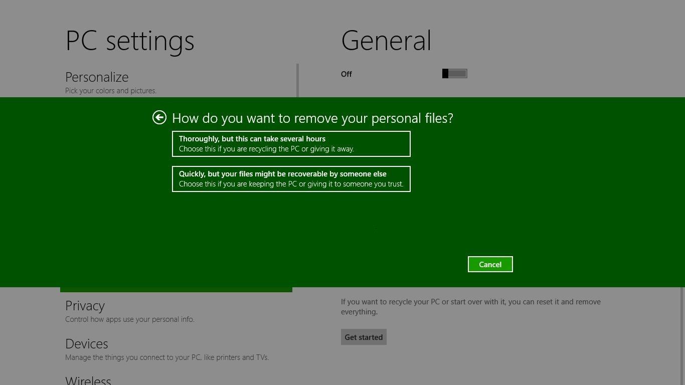 Reset your PC - Windows 8