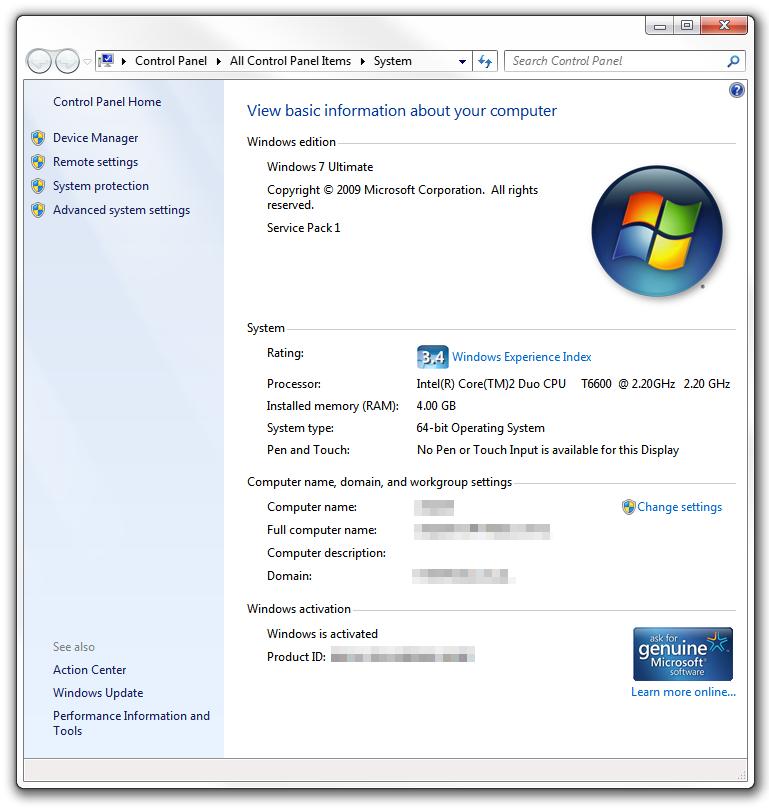 System Information - Computer Windows 7