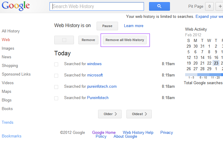 How To Remove And Disable Google Web History