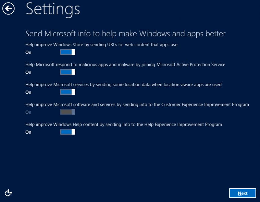 Send Microsoft Info - Windows 8 Consumer Preview