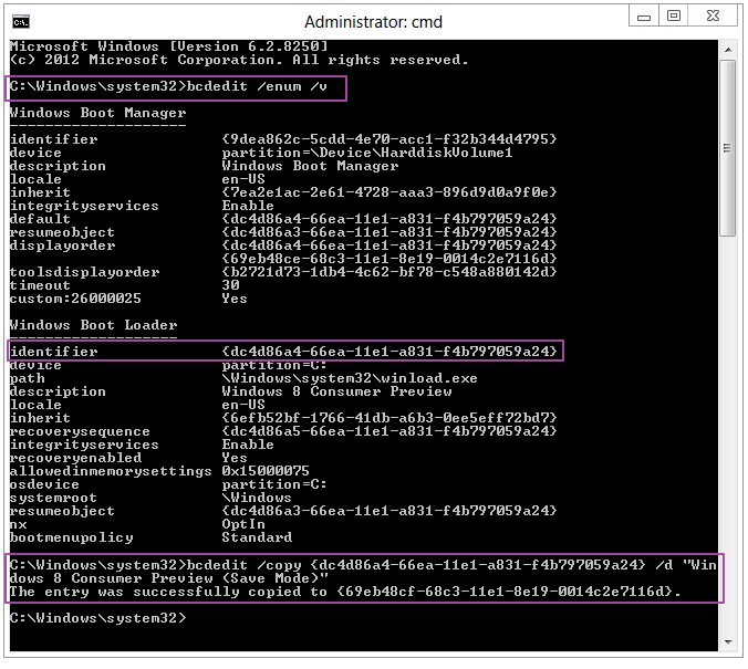 Boot menu - bcdedit - Safe Mode - Windows 8