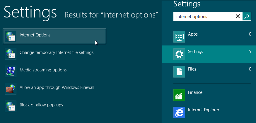 Internet Options - Windows 8