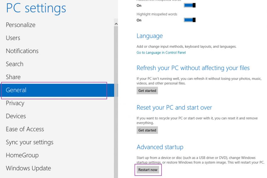 PC Settings - General - Windows 8
