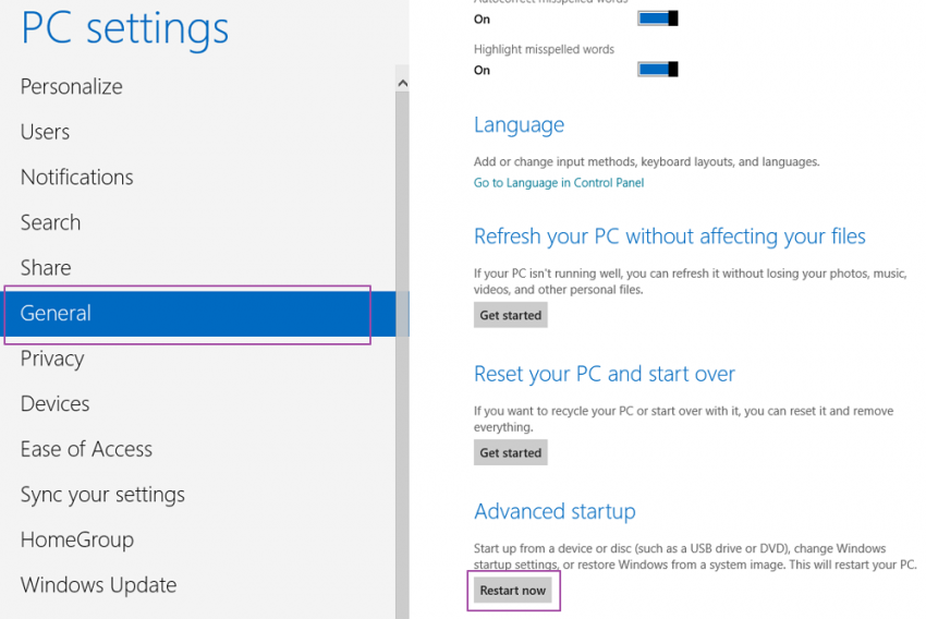 PC Settings - General - Windows 8