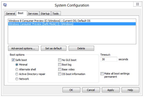 Safe Boot mode msconfig Windows 8