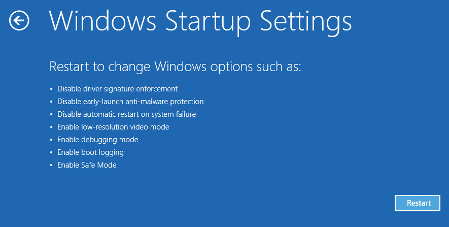 Windows Startup Settings - Windows 8