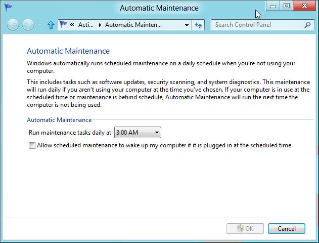 Automatic Maintenance Windows 8
