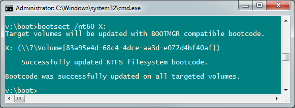 Bootsect nt60 Windows 8