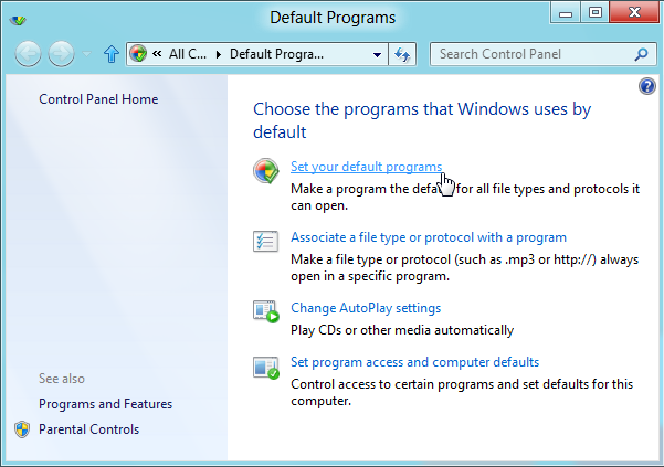 Default Programs window