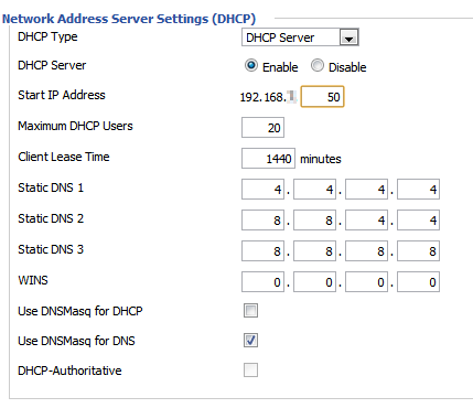 DHCP Settings - Router DD-WRT