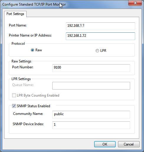 Port settings Printer IP address