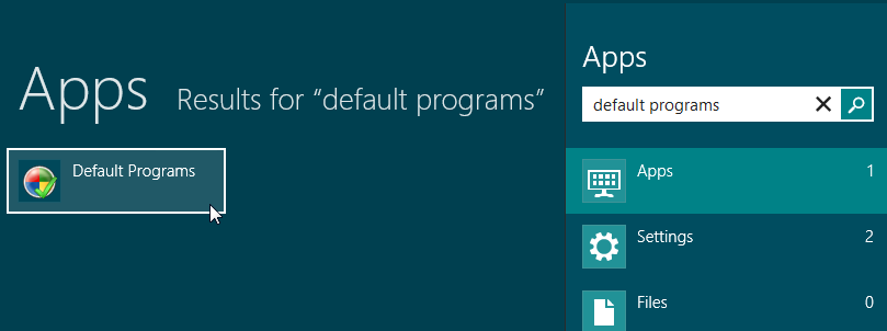 Search Default Programs Start Screen