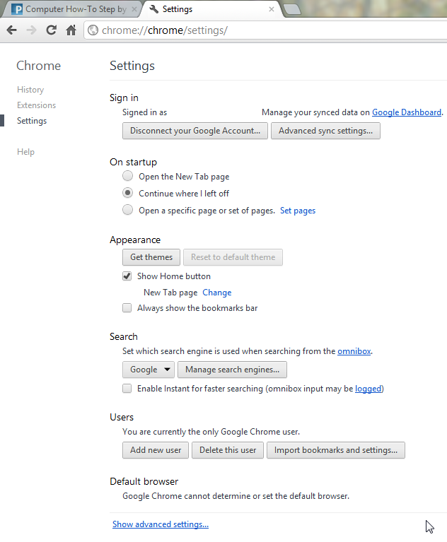 Google Chrome 19 new settings page