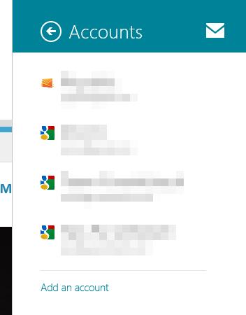 Accounts Mail Windows 8 app