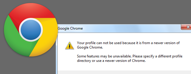 Chrome error message profile