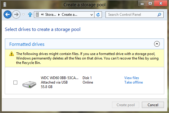 Create a storage pool