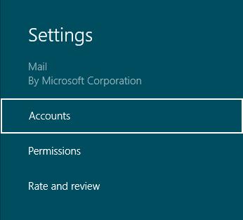 Settings Mail Windows 8