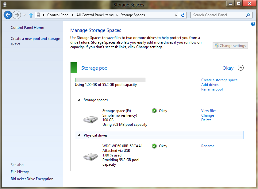 Storage Spaces manage - Windows 8