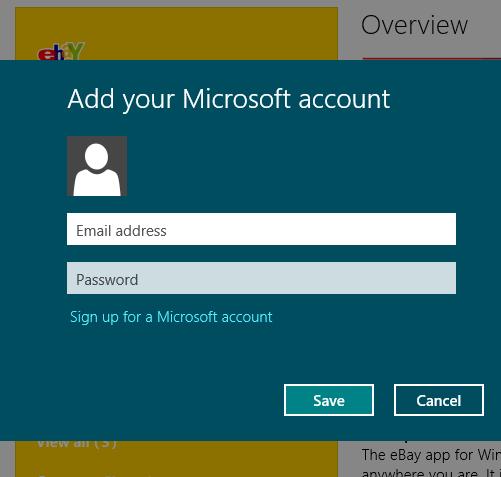 App authentication Windows 8
