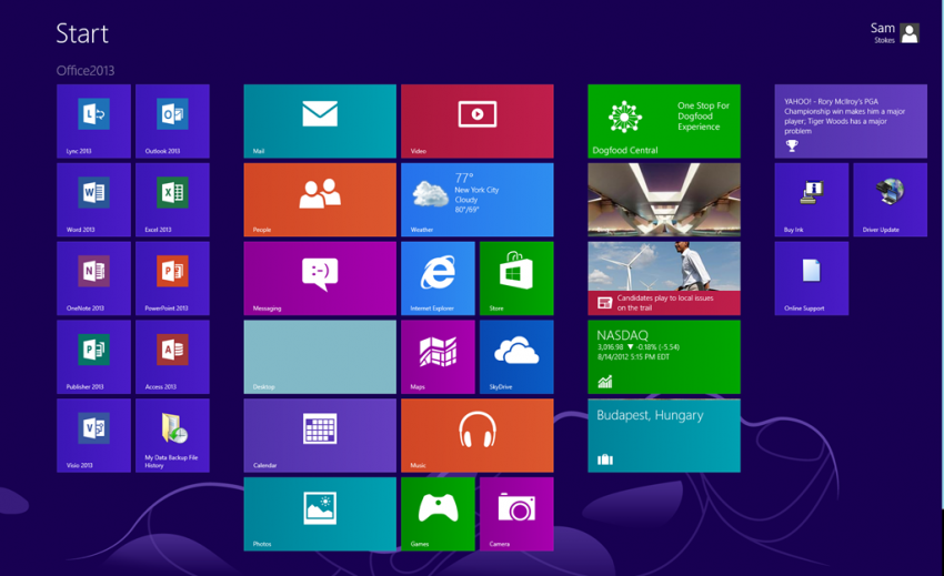 Win8 RTM Start screen