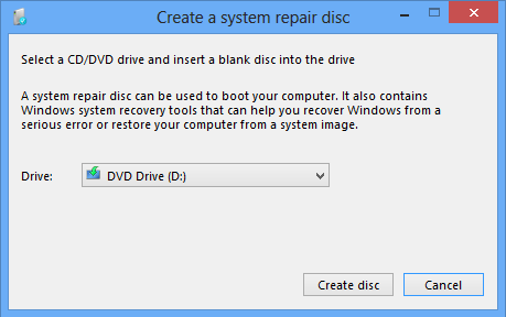 System image repair disc drive