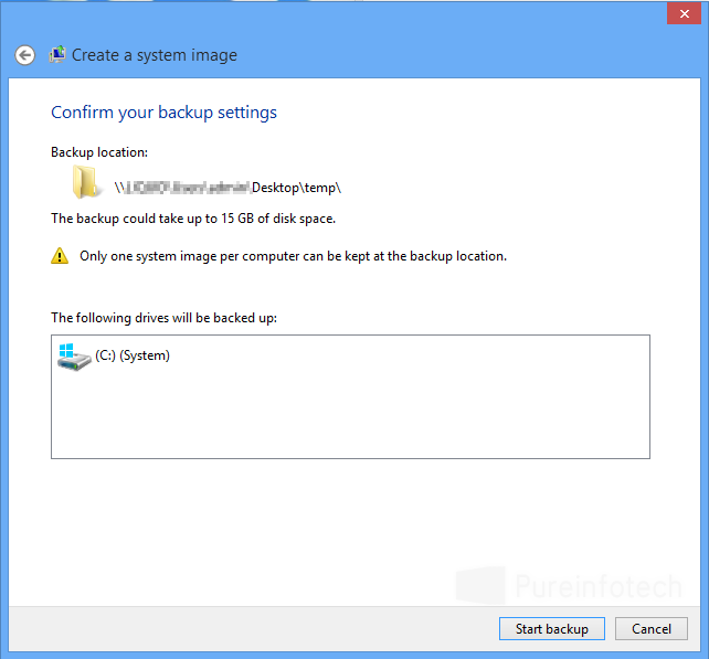 Windows backup widzard