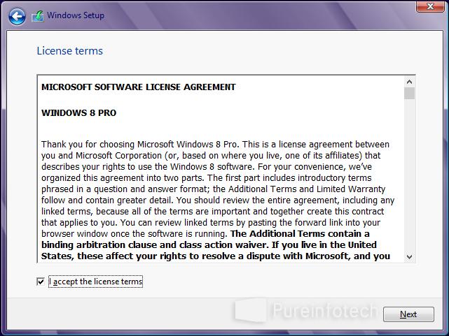 Accept license Windows 8