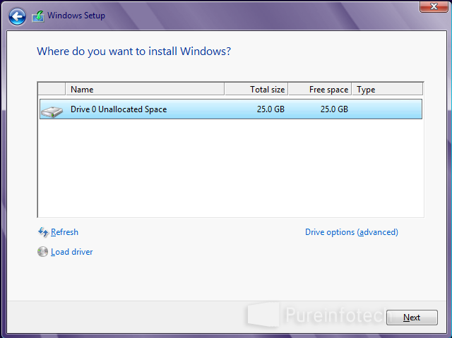 Choose drive to install Win 8