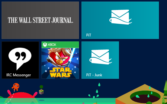 Win 8 Mail pinned Start screen