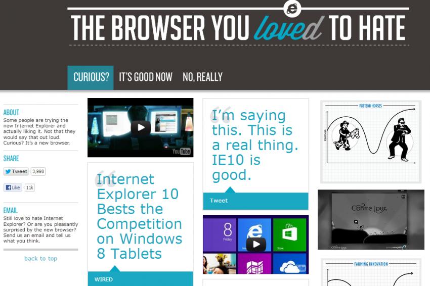 Screenshot of new Microsoft IE website