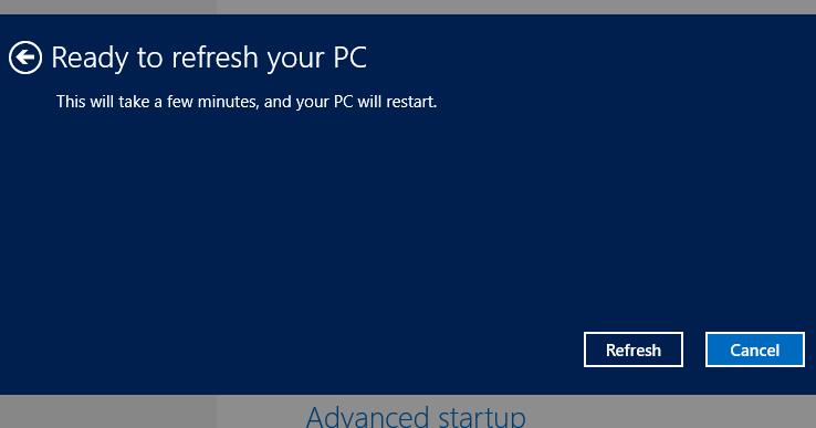 Windows 8 recovery screenshot