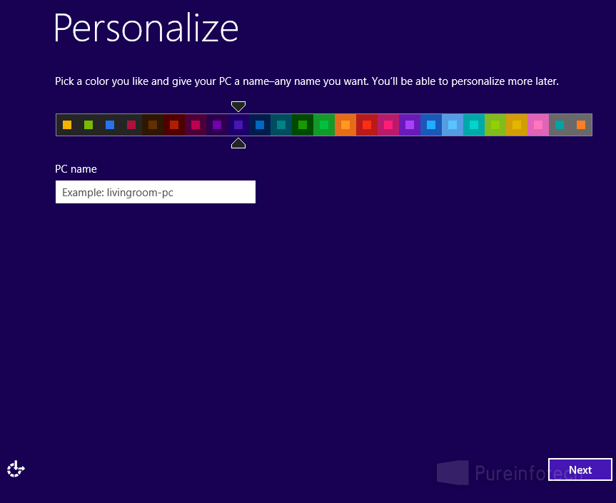 Win 8 Personalize options