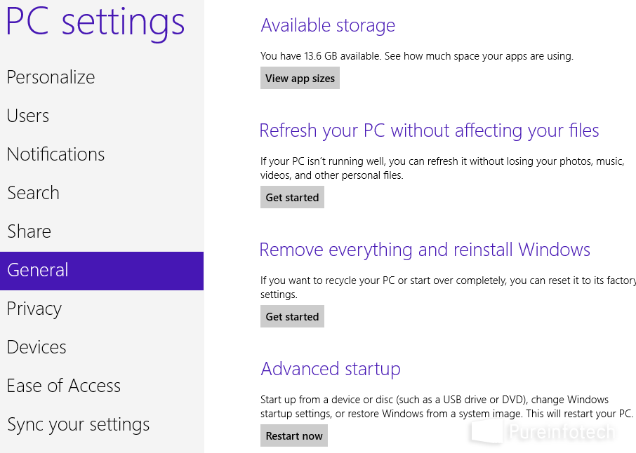Win 8 Control Panel - PC settings