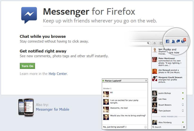 Messenger for Mozilla web browser