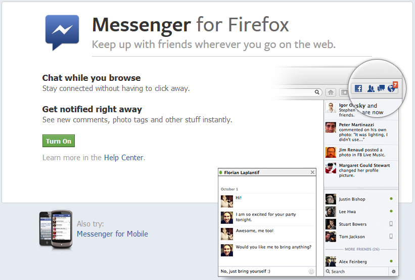 Messenger for Mozilla web browser