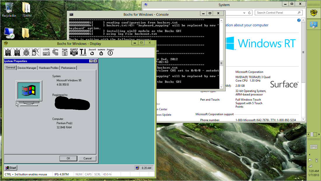 Win 95 working in Windows RT