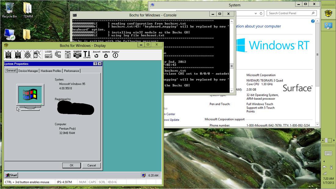 Win 95 working in Windows RT