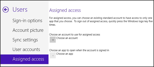 Windows 8.1 Assigned access