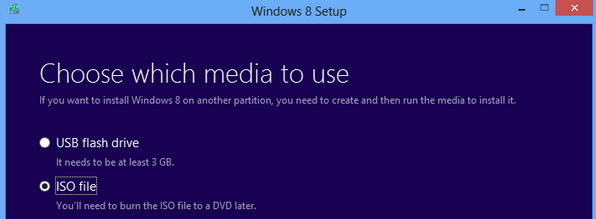 ISO file, Windows 8 upgrade assistant