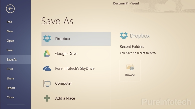 Office 2013 Dropbox and Google Drive ingration